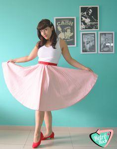 .Estilo Retrô Rock. www.retrorock.com.br #50s #retro #skirt #stripe