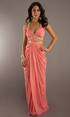 Coral and gold Indian-inspired evening gown / greek toga
