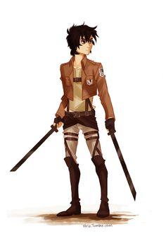 Nico di Angelo in Shingeki no Kyojin (Attack on Titan) uniform AU art by Viria