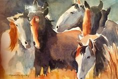 "Daily Paintworks - ""Wild Horses"" - Original Fine Art for Sale - © Charlotte Kelley"