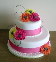 wedding cakes gerbera daisies - Google Search