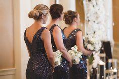 Black, Navy Blue Sequin Bridesmaid Dresses by Badgley Mischka