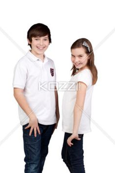 kids posing and smiling - A portrait of kids posing and smiling on a white background