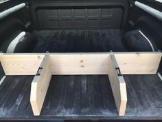 I was tired of having milk or cereal go all the way to the front of the truck so I made this today. Super easy and effective. Easy to move if hauling bigger items. Ram Trucks, Pickup Trucks, Ford Trucks, Bed Divider, Truck Bed Date, Truck Bed Accessories, Truck Bed Camping, Truck Storage, Truck Mods