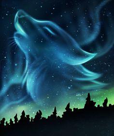 Aurora Borealis howling wolf spirit