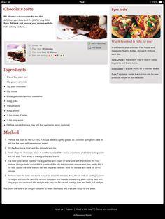 Chocolate Torte Chocolate Torte, Diet Ideas, Slimming World, Free Food, Cake Recipes, Healthy Eating, Eating Healthy, Easy Cake Recipes, Healthy Nutrition