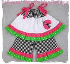 Custom Boutique Clothing Gingham N Dots Ladybug Pillowcase Top Ruffle Pant Outfit Set 3 6 9 12 18 24 month size 2T 2 3T 3 4T 4 5T 5 6 7 8