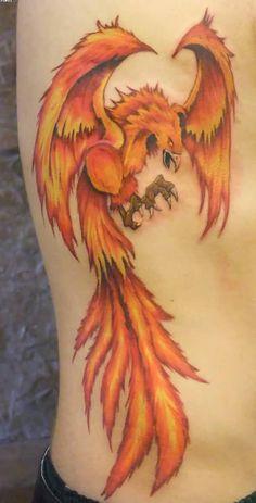 Clean Fire Bird Phoenix Tattoo On Side