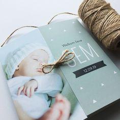 Tweeluik geboortekaartje met foto | Geboortekaart | Geboortekaartjes | Touw | Tweeluik | DIY |