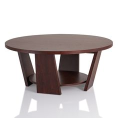 Furniture of America 'Amber' Round Vintage Walnut Coffee Table 35 inches