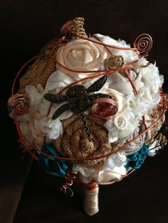 Steampunk, Metal Dragonfly, Burlap rolled roses, Fabric Rolled Roses, Brown, Teal, skeletal keyes, copper wire, Bridal Wedding Bouquet. MillybugsDesigns's shop on Etsy https://www.etsy.com/shop/MillybugsDesigns