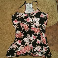 Black floral camisole Gently worn, super cute cami! Size says medium but fits more like a small Garage Tops Camisoles