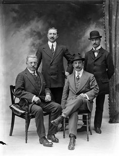 A group of four men from the Imperial Hotel, The Mall, Waterford. This photo was ordered by a Mr Corbella. - Date: Wednesday, 27 May 1914 - NLI Retro Mode, Mode Vintage, Vintage Men, Edwardian Era, Edwardian Fashion, Vintage Fashion, Edwardian Clothing, Victorian, 20th Century Fashion