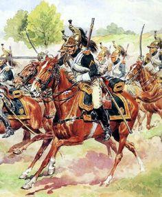 "Imperial Guard Dragoons (""Empress Dragoons"") in the oporządzeniu field. Fig. L. Rousselot."