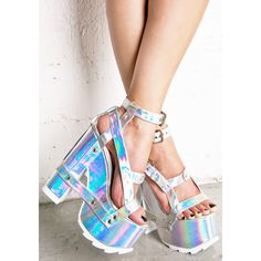 Y.R.U. Holographic Nightcall Platform Heels ($125) ❤ liked on Polyvore featuring shoes, sandals, silver high heel sandals, white strappy sandals, strappy sandals, open toe sandals and silver platform sandals