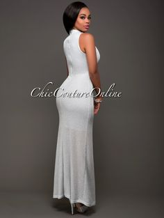 Malika Siver Shimmer Knit Luxe Maxi Dress