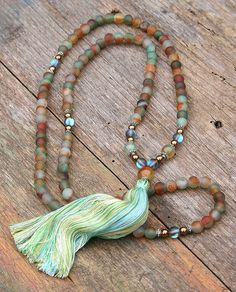 Beautiful agate gemstone mala necklace by look4treasures on Etsy