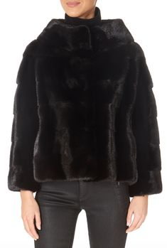 Black Coat with Fur Collar by Greek brand 'Centropel' features a high collar and an adjustable string. It is the gorgeous coat you need for your winter occasions! Mink Jacket, Winter Coats Women, High Collar, Fur Collars, Black Fabric, Black Belt, Fur Coat, Greek, Jackets