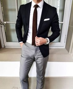 Black Blazer with Grey Trousers - Nice.