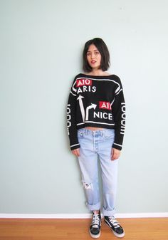 Vintage Emanuel Ungaro - Novelty Print Sweater - Cropped Sweater - Paris - Slouchy Sweater - S-M