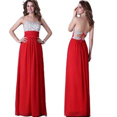 New Chiffon Sexy Long Formal Prom Dresses Party Bridesmaid Evening Ball Gowns #Unbranded #BallGown #Formal