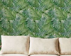 Stunning Palm leaf Wallpaper / Removable / Self by Betapet on Etsy