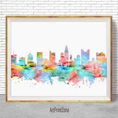 Columbus Ohio Art, Columbus Print, Columbus Skyline, Columbus Art Office Decor, Office Art, Travel Art, Watercolor City Print, ArtPrintZone #CitySkylineArt #ColumbusPrint #ColumbusSkyline #WatercolorCity #ArtPrint