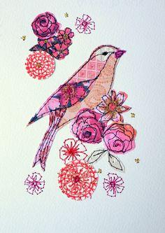 Spring Blossom mixed media original artwork by AmandaWoodDesigns