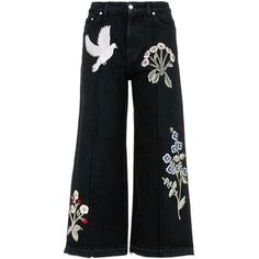 Alexander McQueen Swallow gryphon floral appliqué culotte jeans (18.710 NOK) ❤ liked on Polyvore featuring jeans, pants, black, floral print jeans, alexander mcqueen jeans, flower print jeans, floral printed jeans and floral jeans