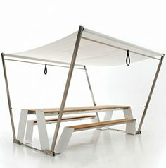 Modern Minimalist Compact Table With Umbrella by Extremis
