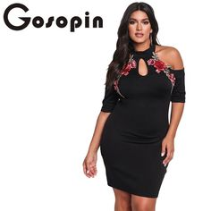 9670d9820c8f Gosopin Rose Applique Embroidery Flower Plus Size Dress XXXL Black Cold  Shoulder Bodycon Large Sexy Nightclub Dresses LC220129