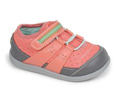 See Kai Run - Rainier Toddler Washable Runner in Coral. This lightweight, flexible trainer was designed for summer activities on land or water and features  breathable mesh upper, textile lining, and scuff-resistant rand and toe.