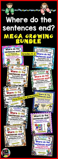 This NO PREP Punctuation and Capitalization GROWING MEGA BUNDLE contains lots of engaging, differentiated, seasonal practice for your students. You'll be giving your boys and girls sentences with no punctuation or capitals. Their job is to figure out where the sentences end, edit the sentences, and then rewrite them with correct capitalization and punctuation, as well as neat handwriting.