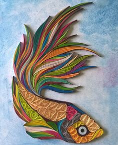 Hand Made Fish Paper Quilling Art - Gift Box, framed , birthday gift, anniversary gift, wall art by khaleelrm on Etsy https://www.etsy.com/listing/243837895/hand-made-fish-paper-quilling-art-gift