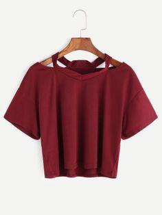 T-shirt coupe coupée en bourgogne