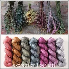 DRIED HERB HUES PEARLESCENT FINGERING YARN KIT by expression fiber arts