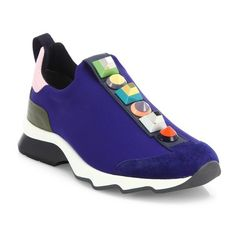 Fendi Rainbow Studded Sneakers (11.956.495 IDR) ❤ liked on Polyvore featuring shoes, sneakers, iris blue, studded sneakers, leather slip on shoes, leather sneakers, slip-on shoes and studded shoes
