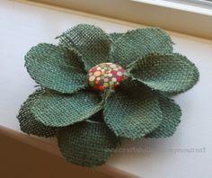 burlap and fabric flower