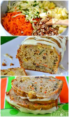 This Carrot Zucchini Apple Bread is incredibly moist and flavorful! Vibrant colors from the carrot, zucchini, and apples makes this bread irresisitble! Yummy Recipes, Bread Recipes, Baking Recipes, Delicious Desserts, Dessert Recipes, Yummy Food, Healthy Recipes, Healthy Meals, Recipe For Healthy Bread