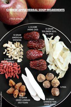 Chinese Apple Herbal Soup Ingredients