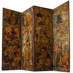 Decoupage Folding Screen Featuring a Collage of Figures