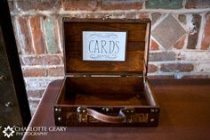 Antique Suitcase for cards....already bought one similar to this from Hobby Lobby (only $15!). Going to fill the bottom with Coffee Beans!