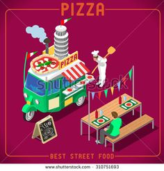 Italian Pizza Food Truck. Delivery Master. Street Food Chef Web Template. NEW bright palette 3D Flat Vector Icon Set Isometric Food Truck. Full of Taste High Quality Dishes Alternative Street Cuisine - stock vector
