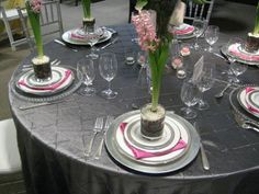 Silver and Pink Linen Rentals