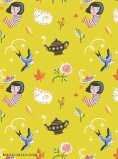 """lovely repeat pattern design, """"Autumn Cottage"""" by Magic Jelly (Australia)"""