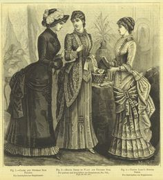 1883 AD Women's Fashions Victorian Era Dresses Silk Wood Engraving Advertising