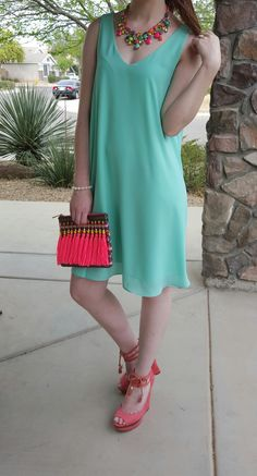 colorful Spring and summer outfit with a flowy dress