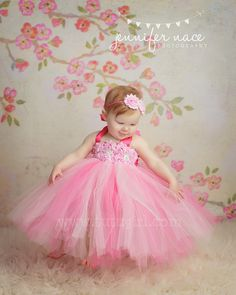Pink Flower Girl Tutu Dress, Flower Girl Dress, Tutu Dresses, Fully SEWN Birthday, Wedding - All Sizes. $89.99, via Etsy.