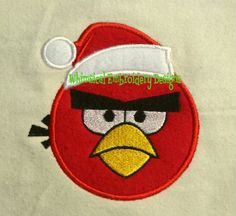 Angry Birds Santa Machine Embroidery Applique Design - Whimsical Embroidery Designs