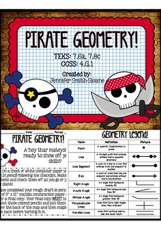 In this project based lesson students will have the task to create a pirate map that includes a point, four line segments, a perpendicular dock, an obtuse, acute and right angle along their path, parallel palm trees, intersection perpendicular lines, and four rays within given parameters. Retail value of $3 and 7 pages are included.